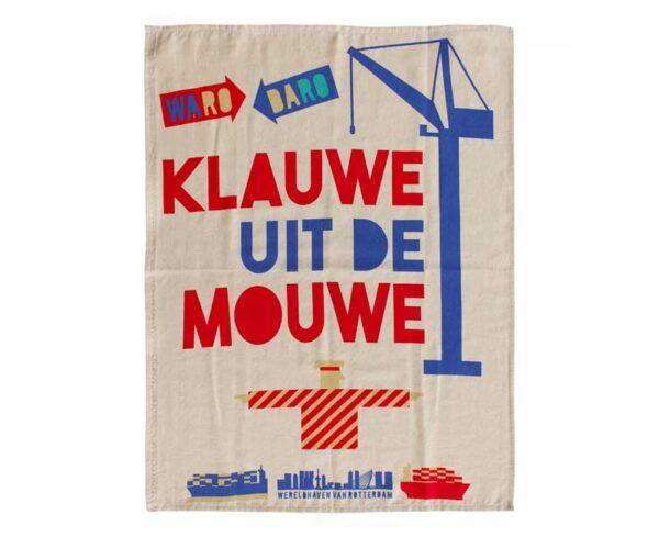 Theedoek Klauwe uit de mouwe brievenbusgeschenk cadeau Rotterdam