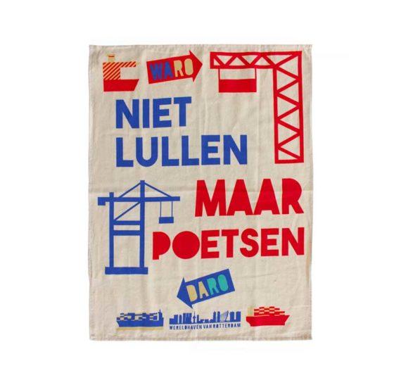 Theedoek Niet lullen maar poetsen brievenbusgeschenk cadeau Rotterdam